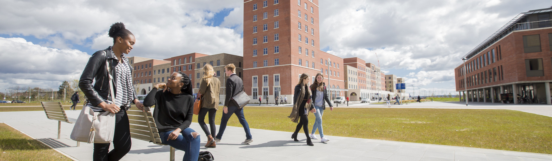Students walking through Bay campus